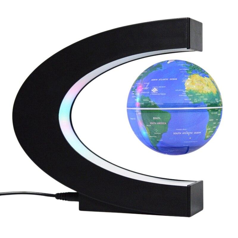 Floating Globe Magnetic Globe World Map Magnetic Levitation Globes C-Frame Led English Blue Globe for Kids