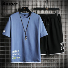 2021 dos homens agasalho novo verão casual 2 pçs t camisa + shorts define algodão terno de treinamento solto sportsuit masculino oversize