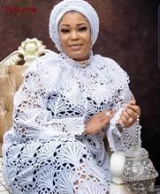 Kalume – tissu africain en dentelle Guipure, blanc, Soluble dans l'eau, nigérian, cordon brodé, pour fête et mariage, F1799