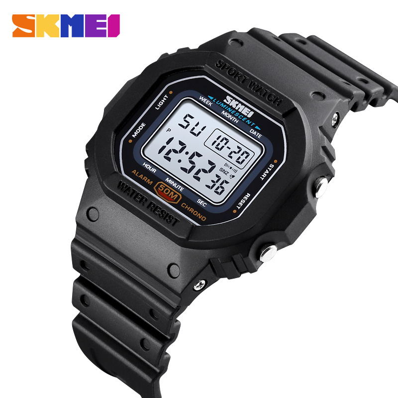 SKMEI Fashion Colorful LED Sports Digital  Watch  Waterproof Shockproof PU Strap Stopwatch Alarm Femal Watches Reloj Hombre 1608