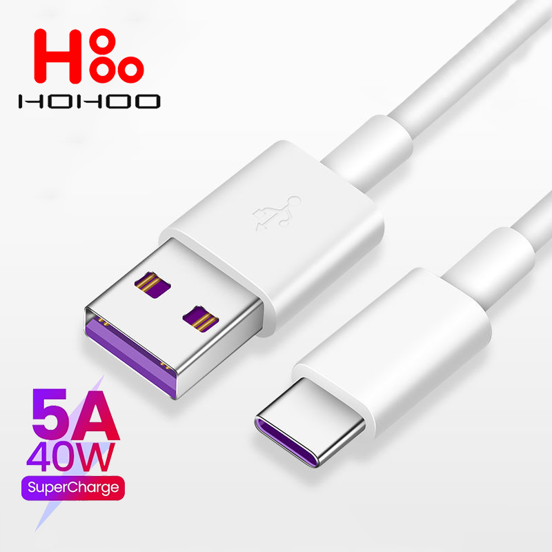 5A USB Type c Cable For Huawei mate 40 P40 p30 pro Honor Fast Charging Cable 2M For Xiaomi Redmi Note 7 8 Pro 8A 6a Type-c Cable