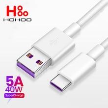 Cabo USB 5A tipo c para Huawei mate 40 30 20 10 pro lite P40 p30 20 10 pro lite Honor Cabo de carregamento rápido 1M 2M para Xiaomi Redmi Note 7 8 Pro 8A 6a Tipo-c Cabo para Samsung S10 S9 Cabo rápido