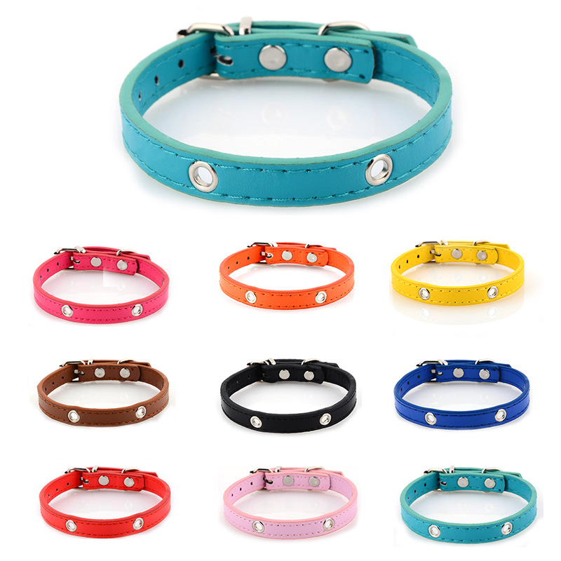 Manufacturers Supply Pet Supplies Small Medium Large Dog Pu Neck Ring DIY Flower Bow Bell Dog Neck Ring Currently Available