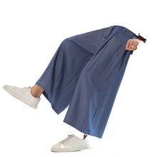 Pants Nine-Point-Pants Chinese-Style Ice-Silk Loose Wide-Leg Male Large-Size Summer Bloomers