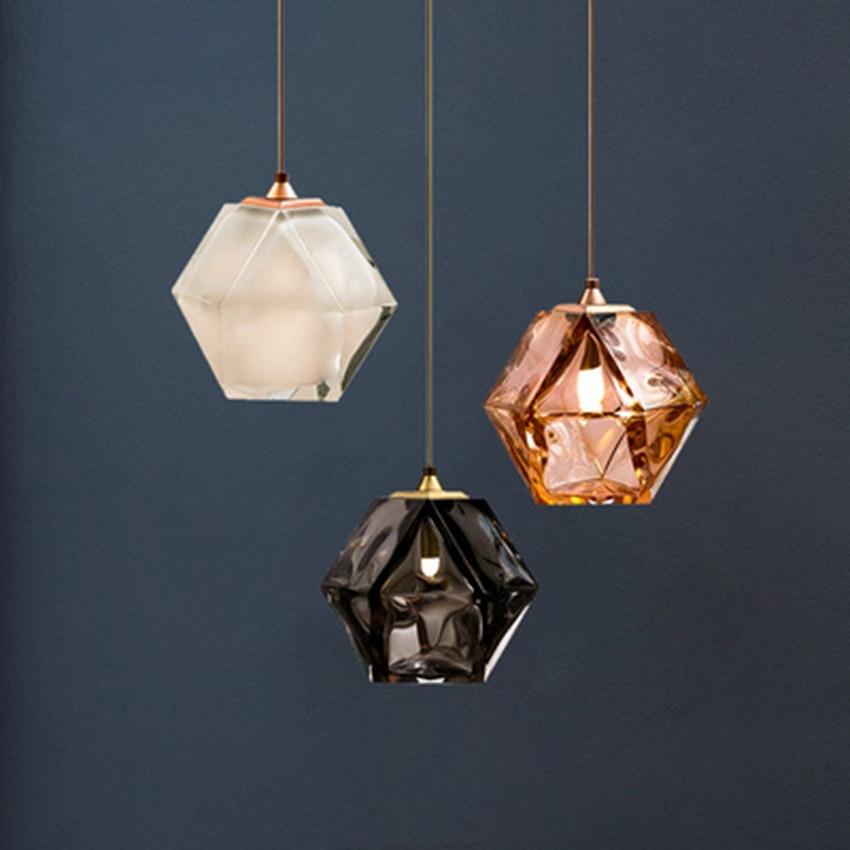 Modern LED Glass Many Sides Pendant Lights Lighting Nordic Retro Industry Indoor Decor Cafe Hanging Lamp Bedroom Light Fixtures