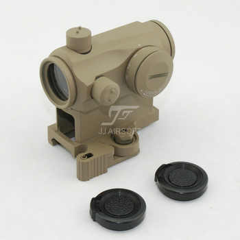 JJ Airsoft Micro 1x24 Red Dot with Killflash / Kill Flash , Offset Rail Mount, QD Riser Mount and Low Mount (Black/Tan)
