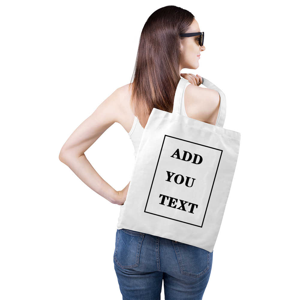 Tas Belanja Menambahkan Teks Huruf Gambar Cetak Desain Asli Putih Unisex Fashion Perjalanan Casing Logo Kustom Kanvas Tote Tas