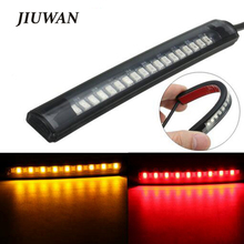 Universal Flexible 17 LED Motorcycle Light Strip Tail Stop Turn Signal Light Motorcycle Running Brake Light 8 Yellow 9 Red Led universal flexible led strip stop light motorcycle turn signal brake tail strip 48 smd led strip tail light motorcycle motorbike