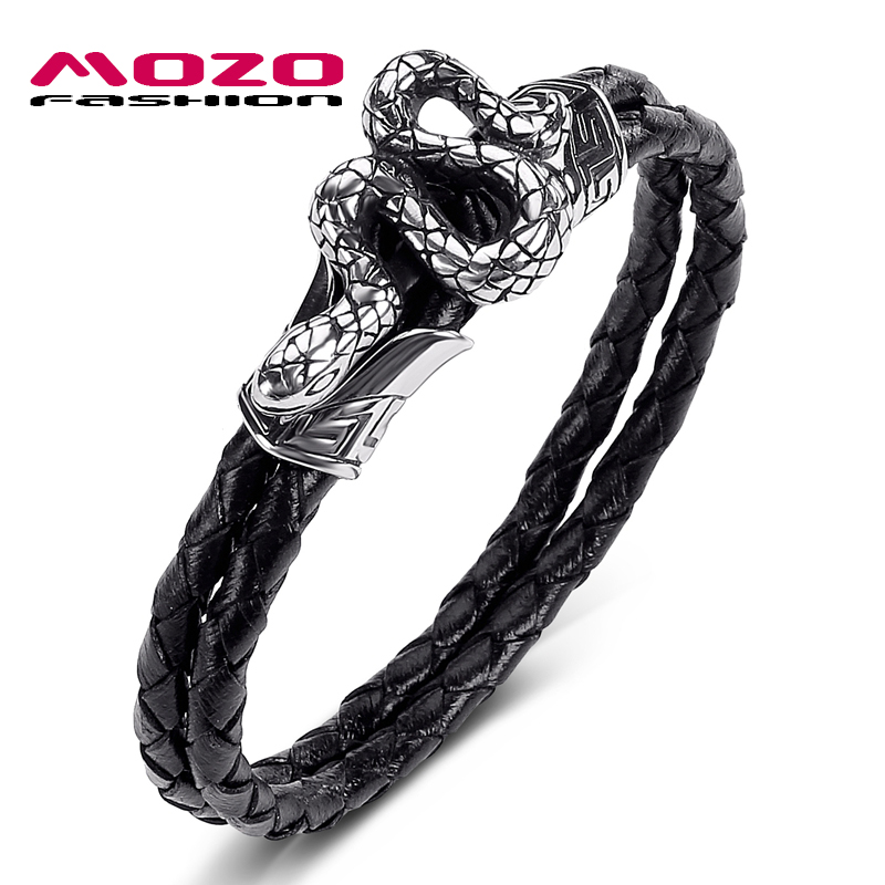 2020 New Men Jewelry Black Genuine Leather Bracelet Stainless Steel Punk Snake Charm Simple Women Bangles