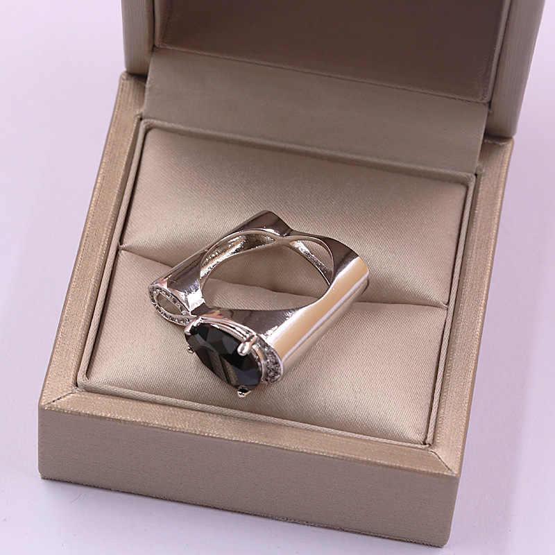Tisonliz โมเดิร์น Twist Infinity คริสตัลแหวนคริสตัลสีดำขนาดใหญ่ Water Drop Zircon งานแต่งงานแหวนเงินหัวใจเครื่องประดับ