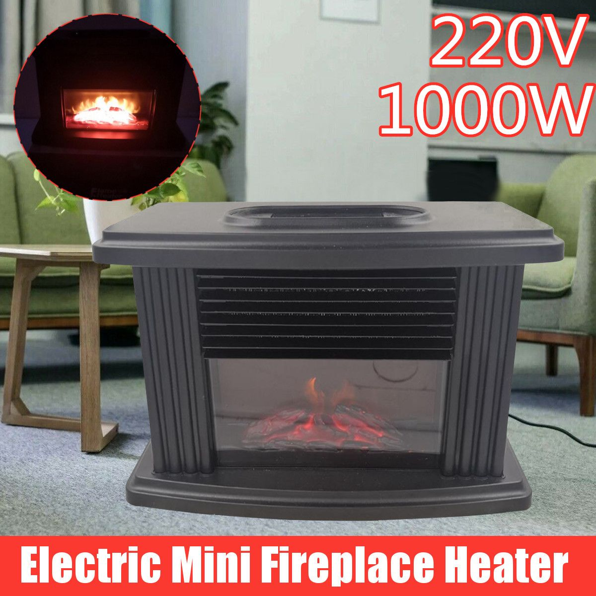 1000W Portable Desktop Electric Fireplace Heater With Log Flame Effect Warm Air Heater With Overheating Power Off Protection