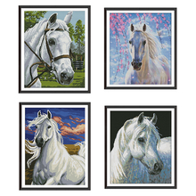 Printed Cross Stitch Embroidery Kit Animal Horse Pattern Chinese Embroidery Kit DIY Needlework Embroidery Modern Home Decoration