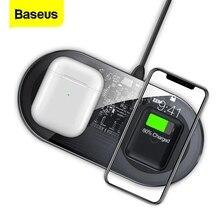 Baseus çift Qi kablosuz şarj Airpods iPhone 11 Pro Max ab USB şarj aleti 20W hızlı kablosuz şarj pedi samsung Xiaomi