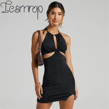 2021 Summer Robe Sexy Bodycon Dress Mini Corset Moulante Femme Sukienka Cover-Up Vestidos Mujer Halter Backless Women Blue Nior