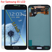 SUPER AMOLED LCD For Samsung Galaxy S5 I9600 G900 G900A G900F LCD Display Touch Screen With Home Button SM G900H Repair parts