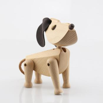 Nordic Style Home Decorations Denmark Solid Beech Walnut Puppy Puppet Lovely Dog Ornament Kids Toys Figurines Doggy Puppet