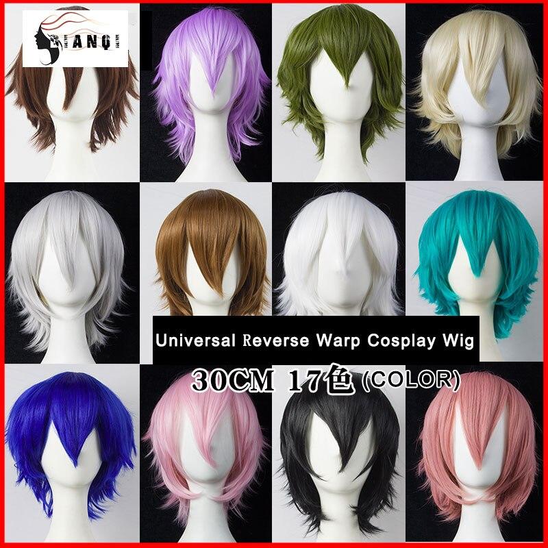 DIANQI 30 см короткие прямые волосы черный белый фиолетовый синий красный высокая температура волокна синтетические парики Косплей парики|Синтетические парики без сеточки|   | АлиЭкспресс