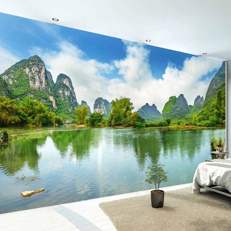 Custom 3D Wallpaper Classic Lake Mountain Landscape Murals Living Room TV Sofa Bedroom Background Wall Decor Papel De Parede 3 D