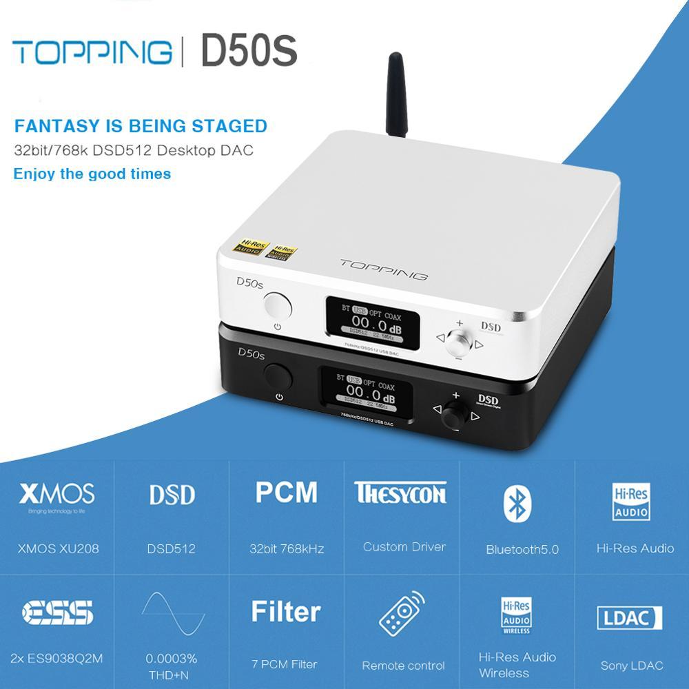 TOPPING D50S D50 Hifi USB DAC Audio Versterker ES9038Q2M XMOS XU208 Bluetooth Decoder Amp DSD Optische Caoxial input 32Bit 768 khz-in Digitaal naar analoog Omvormer van Consumentenelektronica op  Groep 1