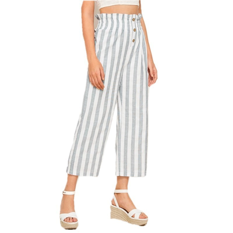 Womens Striped   Wide     Leg     Pants   Elastic Waisted Buttons High Waist Ladies Loose Trousers Women Autumn Spring   Pants