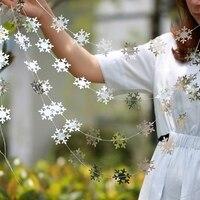 Cuerdas de copos de nieve de 4m, adornos colgantes para árbol de Navidad, decoración de fiesta de año nuevo, tira de copos de nieve, guirnaldas de bandera