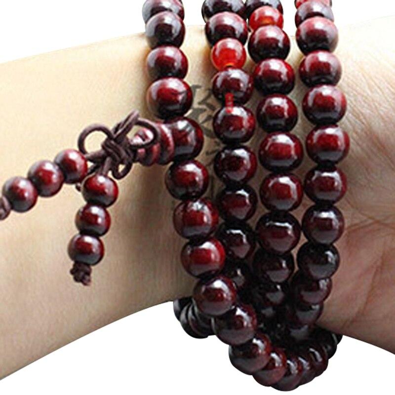 108 Beads 8mm Natural Sandalwood Buddhist Buddha Meditation Beads Bracelet For Women Men Prayer Bead Rosary Hanging Decoration