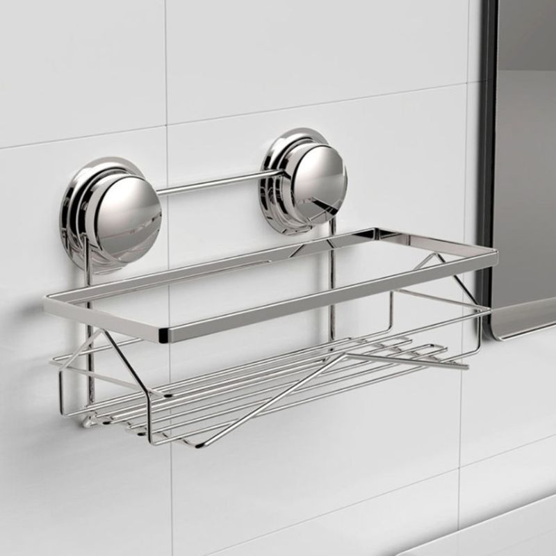 Suction Cup Deep Shower Caddy Bath Wall Shelf for Large Shampoo Shower Gel Holder Bathroom Storage - Rustproof Stainless Steel