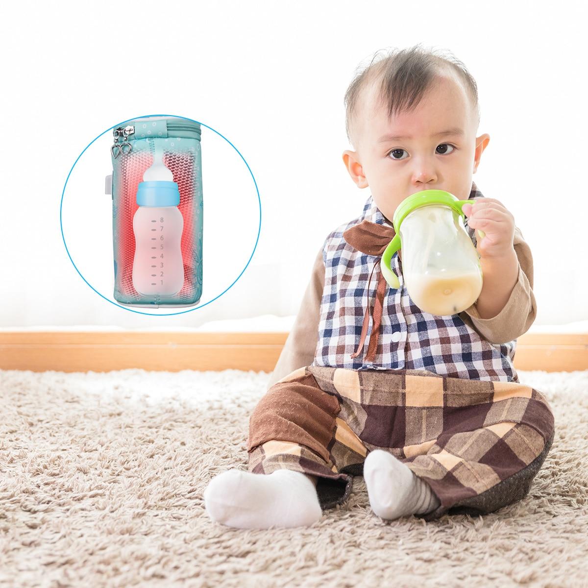 USB Charging Newborn Baby Bottle Warmer Portable Outdoor Infant Milk Feeding Bottle Heated Cover Baby Nursing Insulated Bag