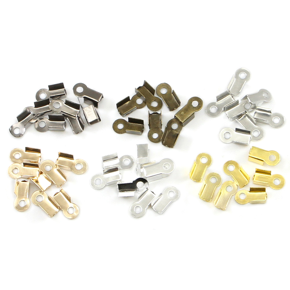 200pcs/lot Cove Clasps Cord End Caps String Ribbon Leather Clip Tip Fold Crimp Bead Connectors For Jewelry Making DIY Supplies