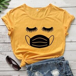 Женская футболка с рисунком ресницы, забавная футболка с коротким рукавом, летняя футболка с рисунком