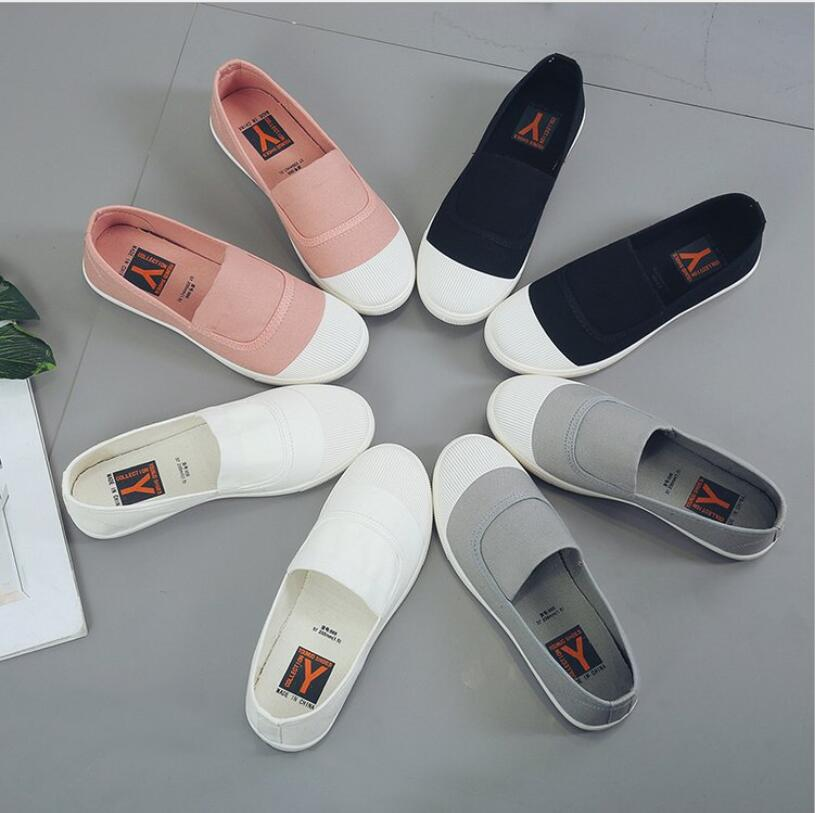 Canvas Shoes White Sneakers Shallow-Mouth Autumn Fashion Women's Student New Casual Soft-Bottom