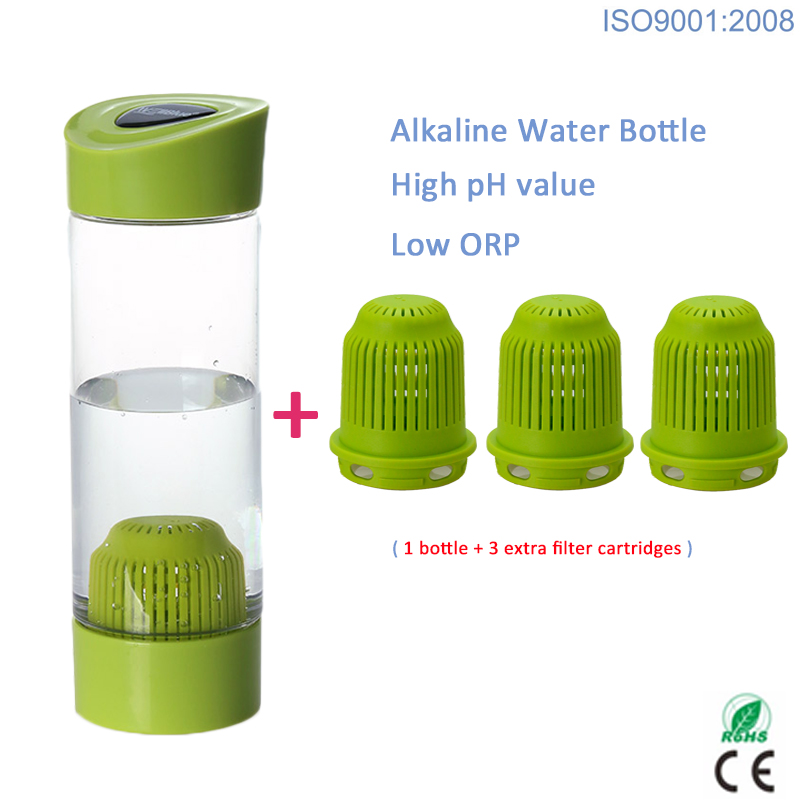 550ml high pH value portable Alkaline Ionizer Alkaline Water Bottle with extra 3 filters image