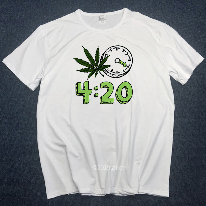 2019 Men Tshirts Print Weed 420 It's Time Fashion T-shirt Short Sleeve O-Neck Summer Unisex Casual Fashion White T Shirts Hiphop