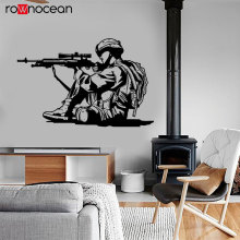 War Soldier Wall Sticker Army Rifle Courage Shooting Vinyl Wall Decals Removable Murals Modern Home Decor Boys Room Bedroom 3627