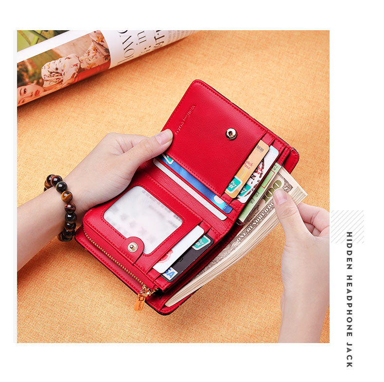 WilliamPolo Luxury Brand Leather Short Wallet Women Fashion Credit Card Holder Coin Purses Business zipper buckle
