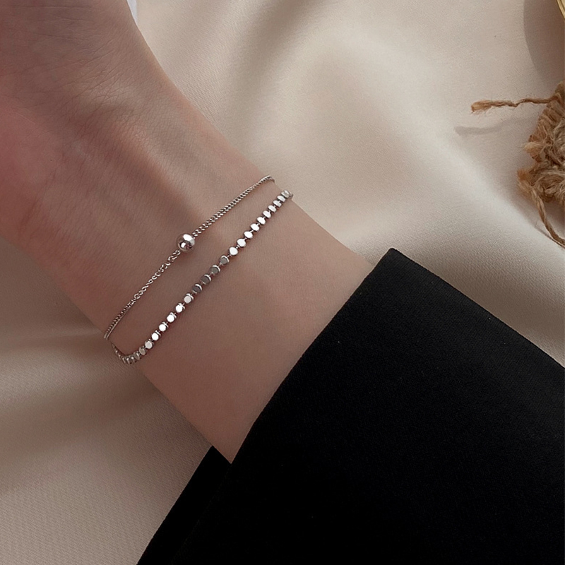 Fashion Temperament Small Bracelet Personality Double Layer Small Beads Silver Jewelry for Women Wedding Party Gift