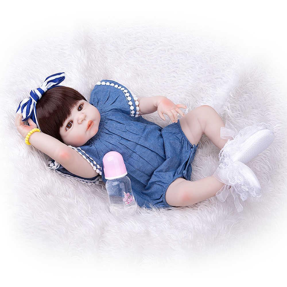 KEIUMI 57 см Реалистичная кукла для новорожденных девочек, полностью силиконовая виниловая прелестная детская игрушка для девочек, одежда для малышей, ковбойский комбинезон, детский подарок на день рождения