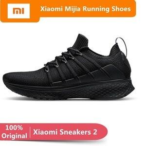 Original xiaomi mijia tênis 2 esportes masculinos ao ar livre sapatos mi tênis inteligente elástico tricô respirável vamp tênis de corrida