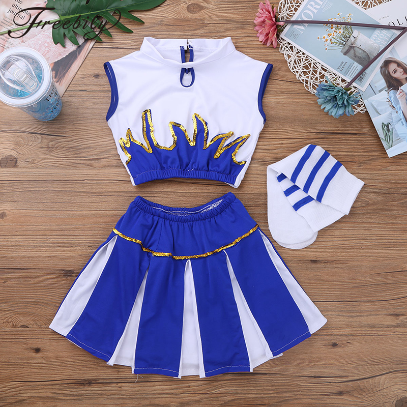 Children Kids Girls Cheerleader Costume School Girls Cheer Costume Outfit for Carnival Party Halloween Cosplay Dress Up Clothes
