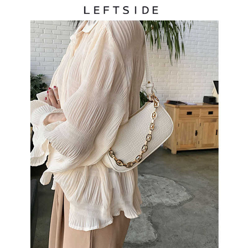 Moda crocodilo padrão baguette sacos mini couro do plutônio bolsas de ombro para as mulheres 2020 design de corrente de luxo bolsa de mão feminina viagem