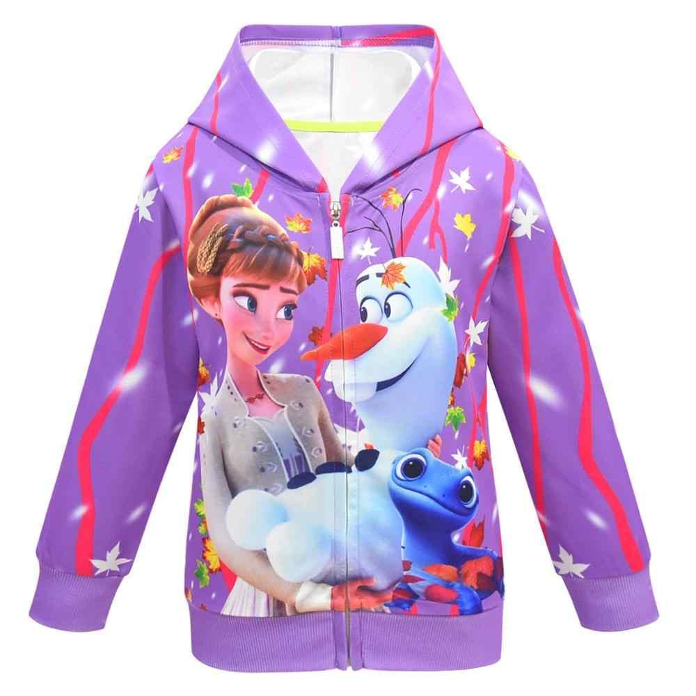 Snow Queen 2 ฤดูใบไม้ร่วง Anna Elsa Princess Coat เด็ก Hooded Outerwear ฤดูหนาวเด็กสาวการ์ตูนเสื้อแจ็คเก็ตเสื้อเสื้อผ้า