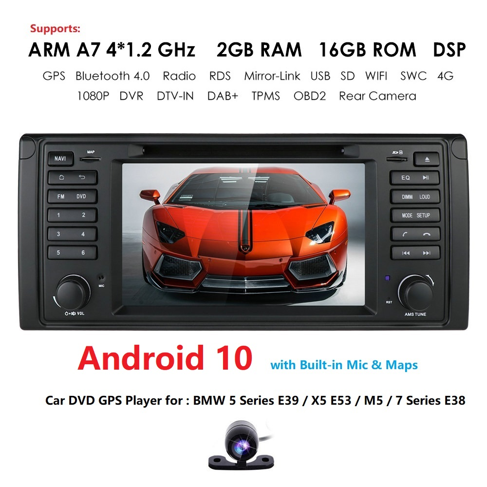 Car DVD Player 7 Quad Cor Android 10.0 for BMW 5 Series E39 /X5 E53/M5/7 Series E38 Radio/SWC/USB/SD/4G/WIFI/MAP GPS DVR Camera image