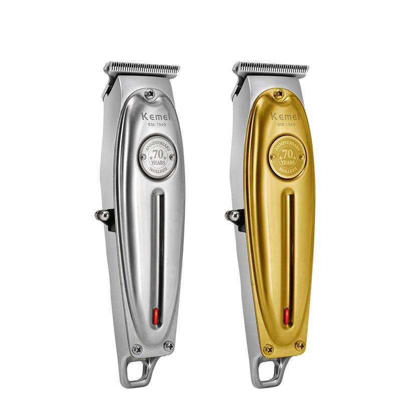 Kemei 1949 Professional Hair Clipper All Metal Men Electric Cordless Hair Trimmer 0mm Baldheaded T Blade Finish Haircut Machine