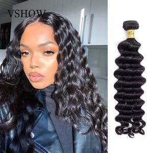 Image 1 - VSHOW Brazilian Loose Deep Wave 100% Human Hair Weave Remy Hair Extensions 1/3/4 Bundles Natural Color Loose Deep Wave Bundles