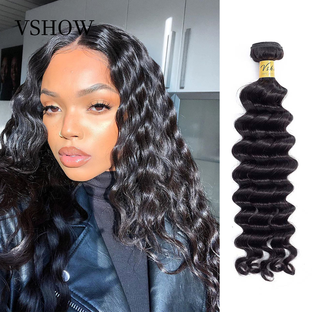 VSHOW Brazilian Loose Deep Wave 100% Human Hair Weave Remy Hair Extensions 1/3/4 Bundles Natural Color Loose Deep Wave Bundles