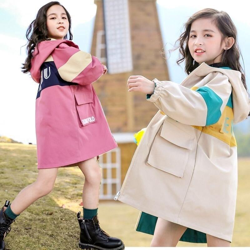 Długi płaszcz dla dziewczynek moda dziecięca z kapturem płaszcz 2021 wiosna jesień wodoodporna kurtka dziewczyny dzieci nieformalne okrycie wierzchnie