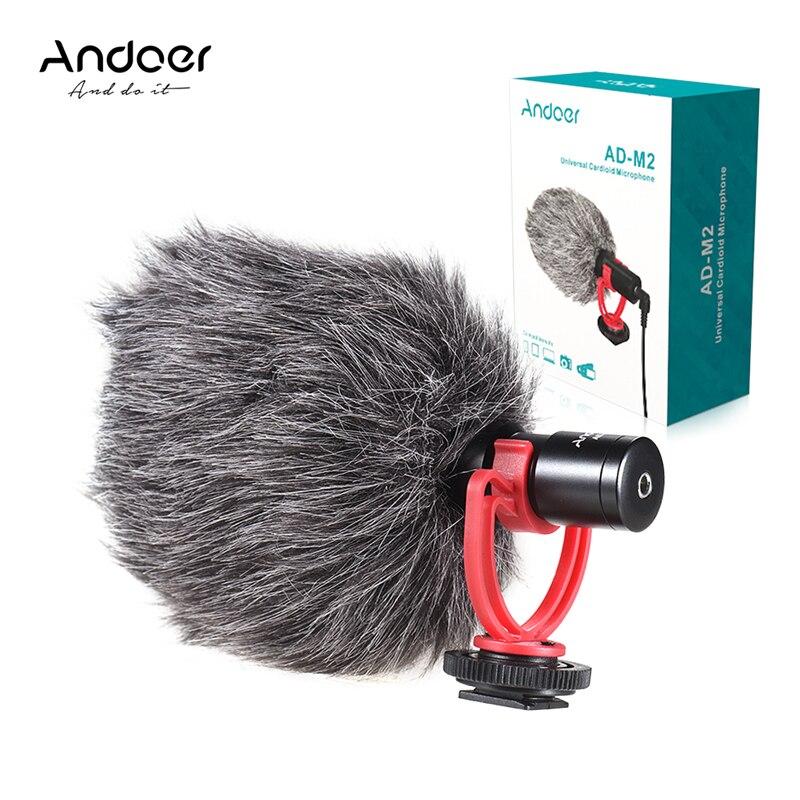 Micrófono AD-M2 Andoer, micrófono de Metal para vídeo, micrófono de 3,5mm, enchufe para Huawei, Smartphone para Canon, Nikon, Sony, cámara DSLR, videocámara de consumo