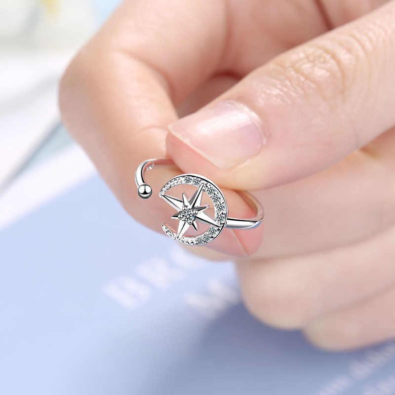 Foxanry 925 Sterling Zilveren Handgemaakte Ringen Trendy Moon Star Crystal Anillos Bruiloft Sieraden Geschenken Voor Vrouwen Maat 16Mm Verstelbare
