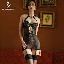 Nightdress Lingerie Black Women Lace Hanging-Neck Erotic-Gathering CROSS-HALTER Female