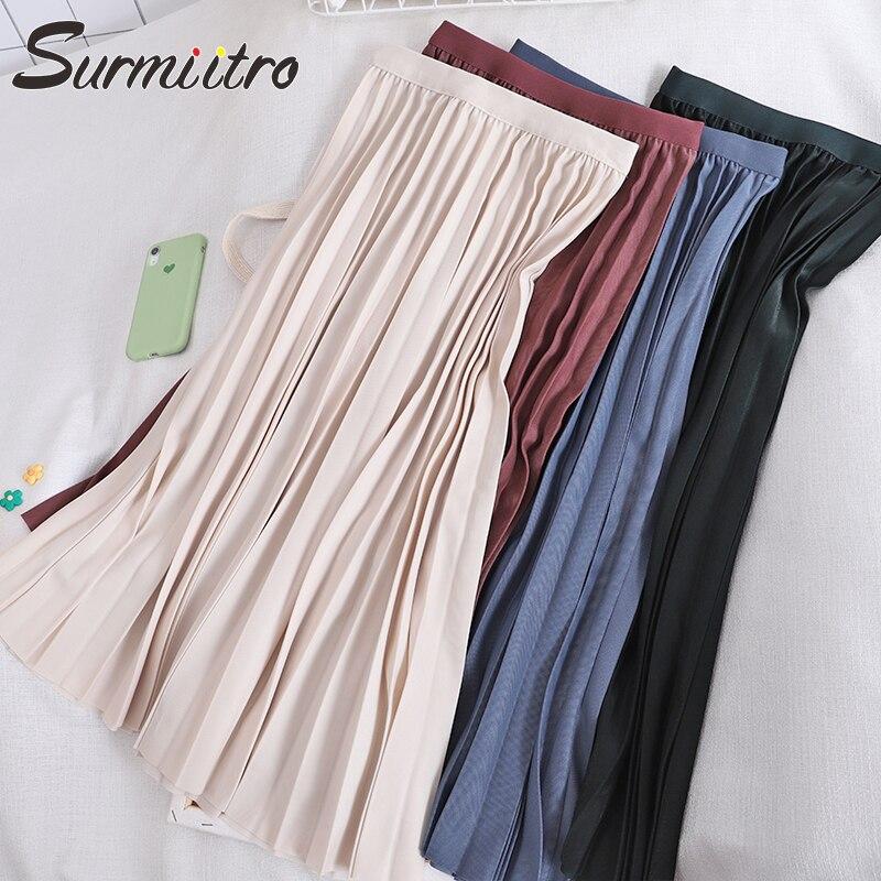 Surmiitro Midi Pleated Skirt Women For Spring Autumn 2020 Casual Ladies Korean High Waist A Line Long Skirt Female
